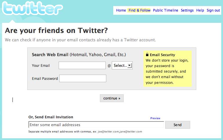 Ricerca amici in twitter